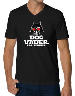 Dog Vader : Rat Terrier V-Neck T-Shirt