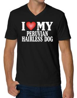 I Love Peruvian Hairless Dog V-Neck T-Shirt