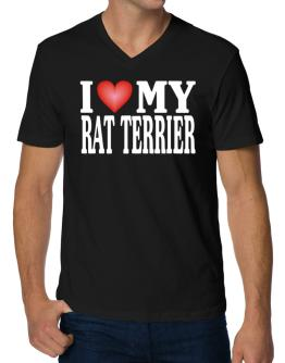 I Love Rat Terrier V-Neck T-Shirt