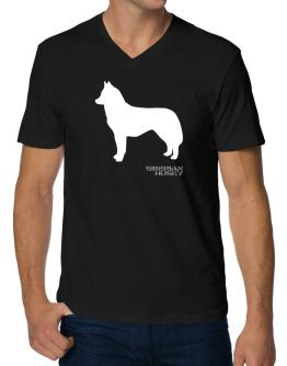 Siberian Husky Stencil / Chees V-Neck T-Shirt