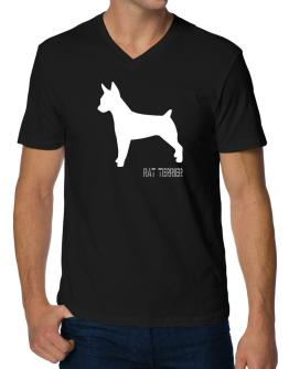 Rat Terrier Stencil / Chees V-Neck T-Shirt