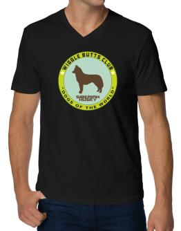 Siberian Husky - Wiggle Butts Club V-Neck T-Shirt
