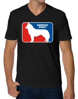 Siberian Husky Sports Logo V-Neck T-Shirt