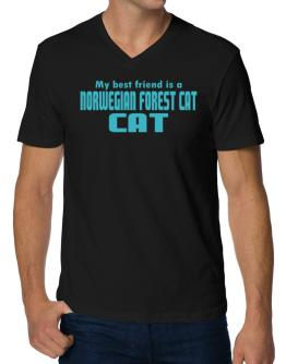 My Best Friend Is A Norwegian Forest Cat V-Neck T-Shirt