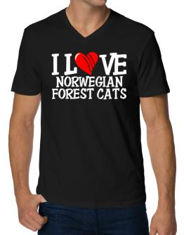 I Love Norwegian Forest Cats - Scratched Heart V-Neck T-Shirt