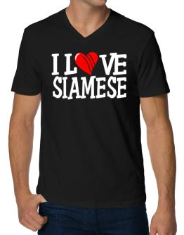 I Love Siamese - Scratched Heart V-Neck T-Shirt