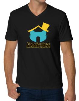 Home Is Where California Spangled Cat Is V-Neck T-Shirt