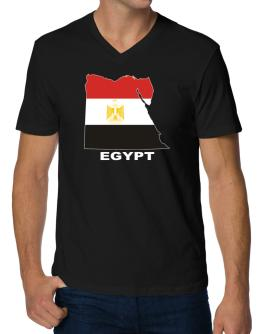 Egypt - Country Map Color V-Neck T-Shirt