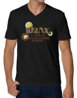 Relax, I Am An American Mission Anglican V-Neck T-Shirt