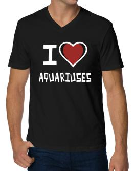 I Love Aquariuses V-Neck T-Shirt