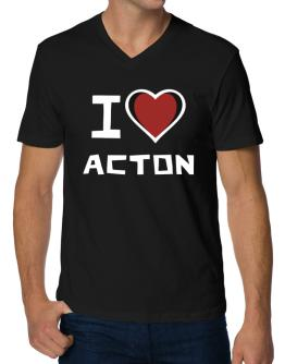 I Love Acton V-Neck T-Shirt