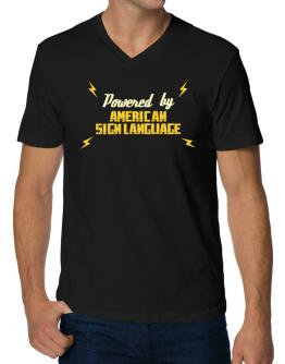 Powered By American Sign Language V-Neck T-Shirt