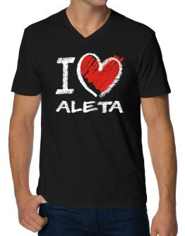 I love Aleta chalk style V-Neck T-Shirt