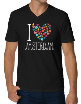 I love Amsterdam colorful hearts V-Neck T-Shirt