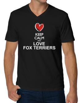 Keep calm and love Fox Terriers chalk style V-Neck T-Shirt