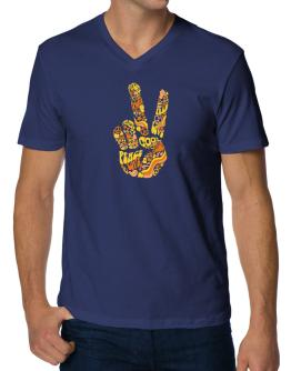Peace Sign - Hand Collage V-Neck T-Shirt