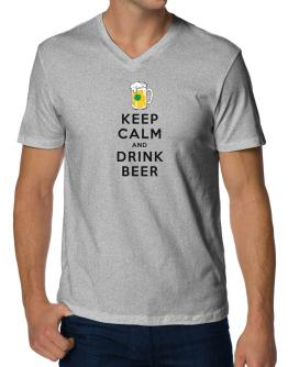 Keep calm and drink beer V-Neck T-Shirt