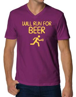 Will Run For Beer V-Neck T-Shirt