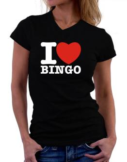 I Love Bingo T-Shirt - V-Neck-Womens