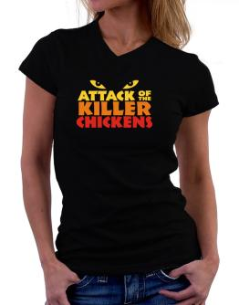 Attack Of The Killer Chickens T-Shirt - V-Neck-Womens