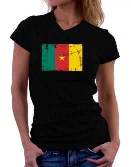 """ Cameroon - Vintage Flag "" T-Shirt - V-Neck-Womens"