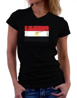 """ Egypt - Vintage Flag "" T-Shirt - V-Neck-Womens"