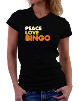 Peace Love Bingo T-Shirt - V-Neck-Womens