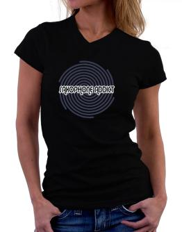 Saxophone Addict T-Shirt - V-Neck-Womens