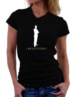 I Am Accessible - Male T-Shirt - V-Neck-Womens