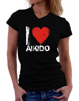 I Love Aikido T-Shirt - V-Neck-Womens
