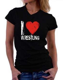 I Love Wrestling T-Shirt - V-Neck-Womens