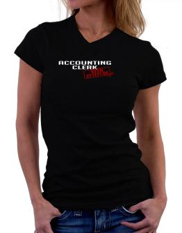 Accounting Clerk With Attitude T-Shirt - V-Neck-Womens