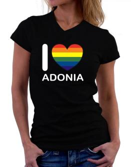 I Love Adonia - Rainbow Heart T-Shirt - V-Neck-Womens