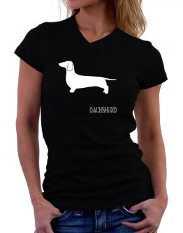 Dachshund Stencil / Chees T-Shirt - V-Neck-Womens