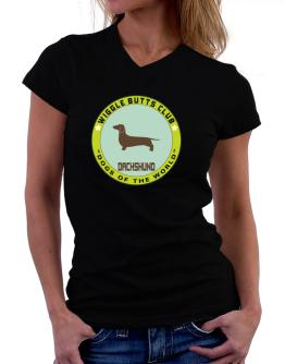 Dachshund - Wiggle Butts Club T-Shirt - V-Neck-Womens