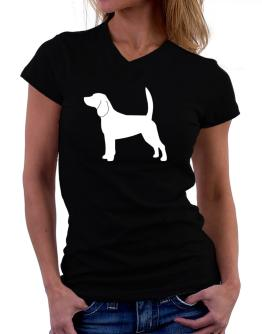 Beagle Silhouette Embroidery T-Shirt - V-Neck-Womens