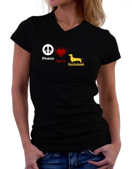 Peace, Love, Dachshund T-Shirt - V-Neck-Womens