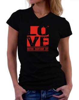 Love British Shorthair T-Shirt - V-Neck-Womens