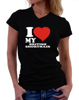 I Love My British Shorthair T-Shirt - V-Neck-Womens