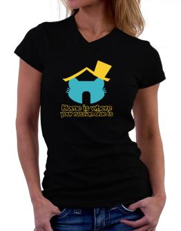 Home Is Where Russian Blue Is T-Shirt - V-Neck-Womens