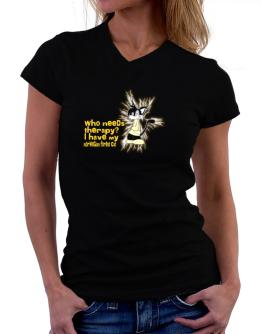 Who Needs Therapy? I Have My Norwegian Forest Cat T-Shirt - V-Neck-Womens