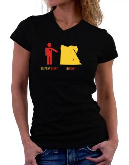 I Left My Heart In Egypt - Map T-Shirt - V-Neck-Womens