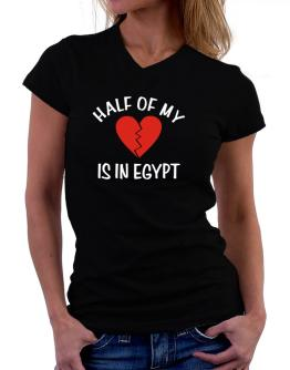 Half Of My Heart Is In Egypt T-Shirt - V-Neck-Womens