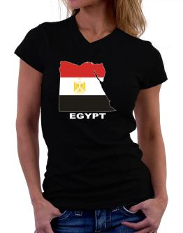 Egypt - Country Map Color T-Shirt - V-Neck-Womens