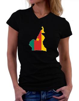 Cameroon - Country Map Color Simple T-Shirt - V-Neck-Womens