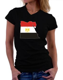 Egypt - Country Map Color Simple T-Shirt - V-Neck-Womens