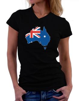Australia - Country Map Color Simple T-Shirt - V-Neck-Womens