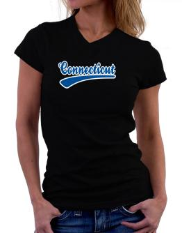 Retro Connecticut T-Shirt - V-Neck-Womens