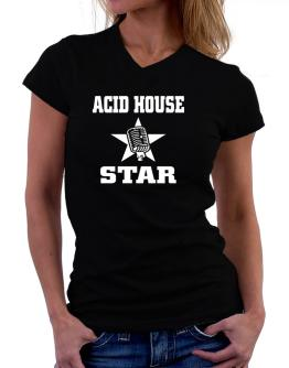 Acid House Star - Microphone T-Shirt - V-Neck-Womens