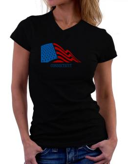 Flag Usa Connecticut T-Shirt - V-Neck-Womens